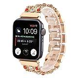 Wuqiang 42 mm y 44 mm de Acero Inoxidable Reloj de la Banda, Cadena Vaquero con Rojo y Blanco del Diamante del Reloj de la Correa, for Apple Ver Series de 5 y 4 y 3 y 2 y 1 (Color : Rose Gold)