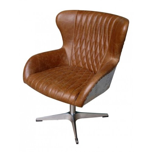 Drehsessel Albany Vintage Leder Columbia Brown, Aluminium Echtleder Sessel