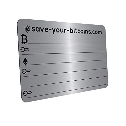 Save-Your-Bitcoins Private Key Recovery Metallplatte aus Edelstahl (V4A) mit Holder, 1 Stück