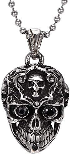 NC86 Collar con Colgante de Anillo de Ojo Negro con Calavera de Acero Inoxidable Vintage para Hombre, Plateado y Negro