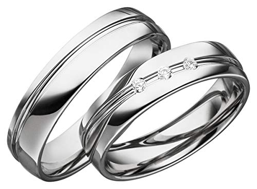 JC Trauringe 2 x Eheringe 925 Silber PAARPREIS inkl. Diamant und Gravur Ehe-ringe Verlobungs-ringe Brillant Heiraten Wedding Rings Partnerringe Platin Gold Weißgold S052