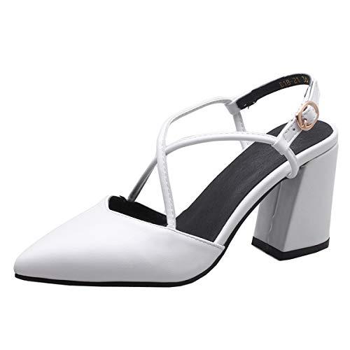 LUXMAX Scarpe Donna Eleganti Aperte Dietro Decolte con Tacco Largo Alto a Punta Slingback Shoes (Bianco) - 36 EU