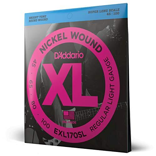 D'Addario EXL170SL - Juego de cuerdas para bajo eléctrico de níquel.045 - .100