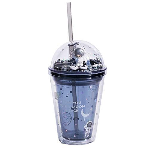 Vaso para beber para niños, diseño de astronauta fresco con purpurina de doble pared con tapa y pajita, 380 ml reutilizable libre de BPA vaso de beber para fiestas de verano y regalos (A)