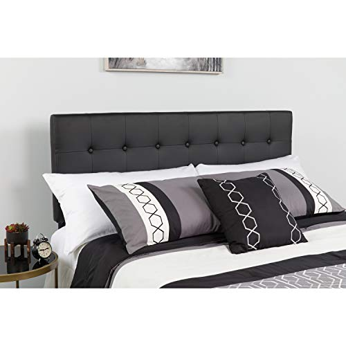 Flash Furniture Lennox Tufted Upholstered Queen Size Headboard in Black Vinyl