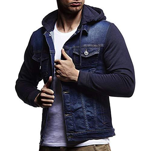 Kanpola Herren Kapuzenjacke mit Reißverschluss Kapuzenpullover Sweatshirt mit Kapuze Mantel Outwear Zip Sweatjacke Jeanshemd Kapuzensweatshirt Sportjacke