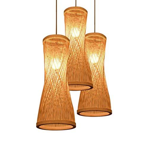 TJLSS Candelabro Bambú Mimbre Ratán Bugle Sombra Lámpara Colgante Lámpara Colgante Rústica (Size : 3head)