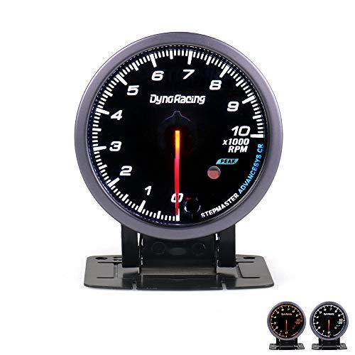 LHQ-HQ Dynoracing 60 MM Car Auto tacómetro 0-10000 RPM RPM Gauge Medidor Negro Cara con Blanco y ámbar iluminación del Coche Metro