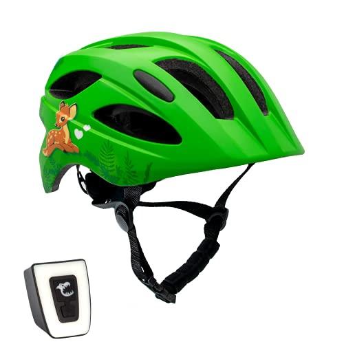 Casco da bicicletta con luce per bambini e ragazzi   Taglia 54-58 I   Casco da bicicletta per bambini e ragazzi   Luce LED