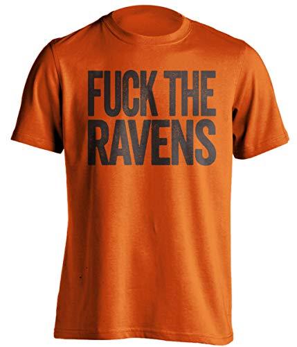 Fuck The Ravens - Funny Smack Talk Shirt - Brown and Orange Version - Text Design - Orange - Uncensored - XXL
