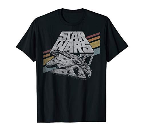 Star Wars Millennium Falcon 77 Retro Diagonal Stripes T-Shirt