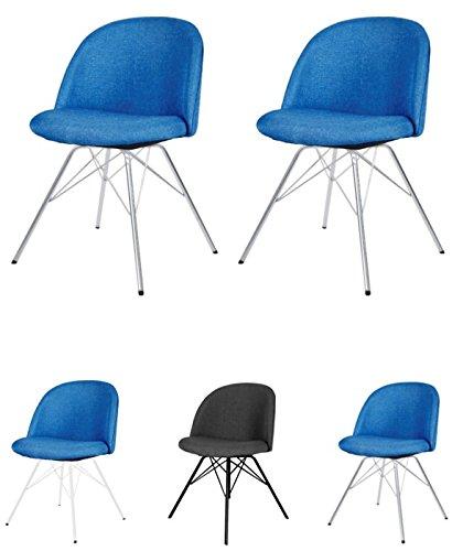tenzo 3299-225 Designer Lot de 2 Chaises, Bleu pétrole, Structure en contreplaqué Garni de Mousse et recouvert de Tissu 100% Polyester. Pieds en Acier chromé, 76,5 x 50 x 51,5 cm (HxLxP)