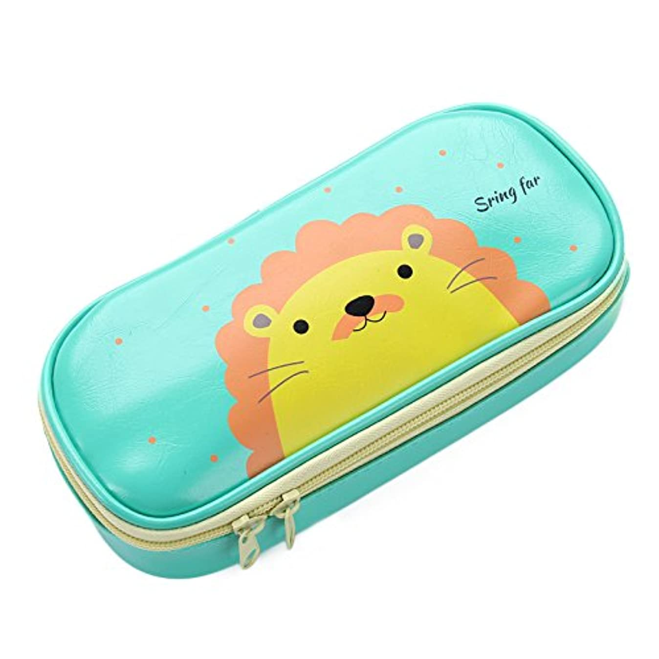 Cute Pencil Case - High Capacity Pencil Pouch Stationery Organizer Multifunction Cosmetic Makeup Bag, Green Lion Perfect Holder for Pencils and Pens,Green ?- r0804346607