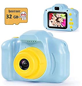 hooroor Kids Digital Camera Video 2.0 Inch IPS Screen 1080P with 32GB TF Card Children Mini Rechargeable Toy Camera for Boys Children Toddler 3-10 Year Old Birthday Christmas New Year Gift (Blue)