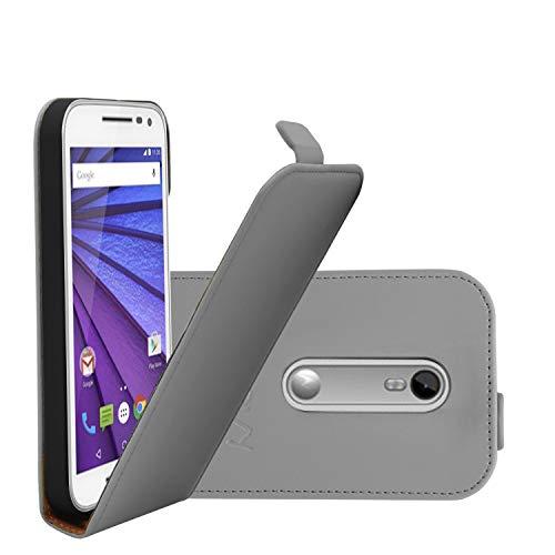 COOVY® Cover für Motorola Moto G (3. Generation Model 2015) Slim Flip Hülle Tasche Etui inklusive gratis Bildschirmschutzfolie | Farbe grau