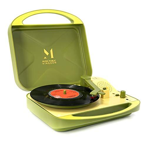 Tocadiscos, mini maleta de viaje portátil con pilas, para discos de vinilo de 7 pulgadas, 2 velocidades, conector para auriculares, altavoz integrado, 4 pilas AA (Verde)