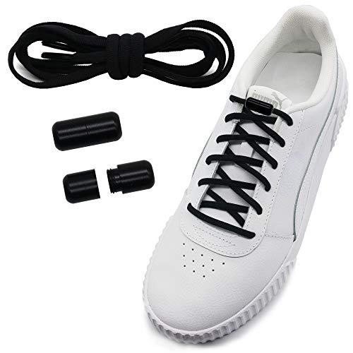 Run out sports Elastische Schnürsenkel mit Metallverschluss - schleifenlos - elastisch ohne binden - Schnellverschluss mit Metallkapsel (schwarz-Verschluss schwarz)