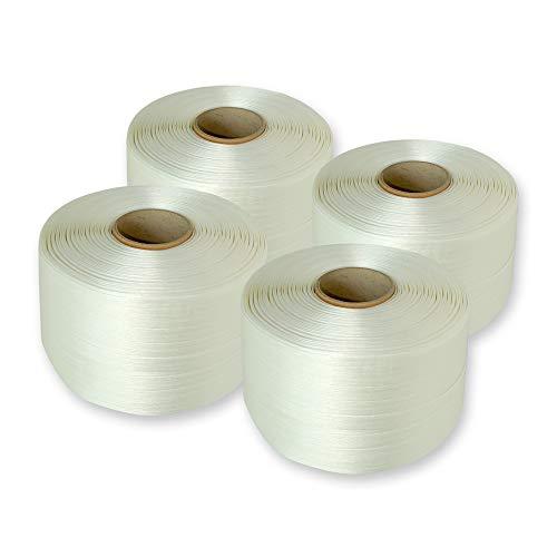 4 Rollen Polyester-Umreifungsband 16 mm, 340 m, bis 450 kg reißfest, Ballenpressenband für Papierpressen