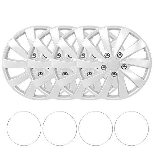 WFFF 4 Stück/Set 15-Zoll-Radkappen-Kit Radhaubenabdeckung Silber Automatisch modifizierte Teile für R15-Reifen- und Stahlfelge