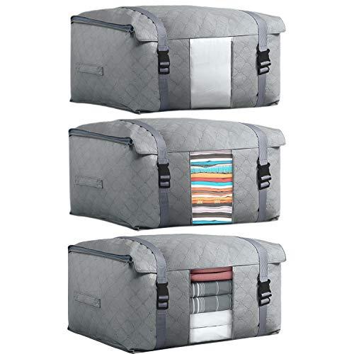 DIMJ 3 Stück Aufbewahrungstasche Kleideraufbewahrung mit Schnallendesign und Verstarkter Griff, für Bettdecken Kleidung Bettzeug Decke Kissen (Grau)