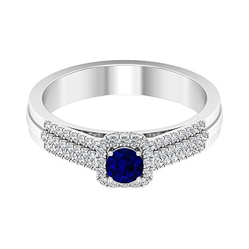 Anillo de compromiso con diamantes y zafiros azules de 3/4 quilates, piedra de nacimiento de septiembre (calidad AAA), 14K Oro blanco, zafiro azul, Size:EU 55