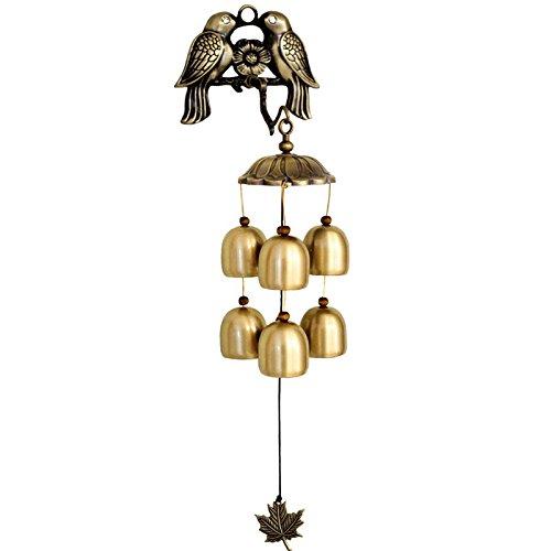 Vinbcorw Kleine Vogelwindspiele, kreative Wohnaccessoires, Aufhängen, Saugen, Kleben, DREI Aufhängemethoden,B