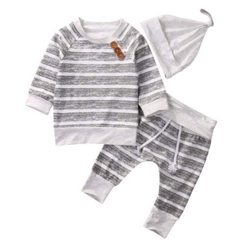 3Pcs Infant Baby Boy Fall Clothes Buttons Sweatshirt Top Striped Pants with Hat Outfit Clothing Set (Striped Gray, 12-18Months)