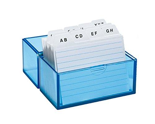 Wedo 2508303 indexbox DIN A8 tvärgående av plast inklusive 100 indexkort, 150 kort, vit/linjerad/transparent blå