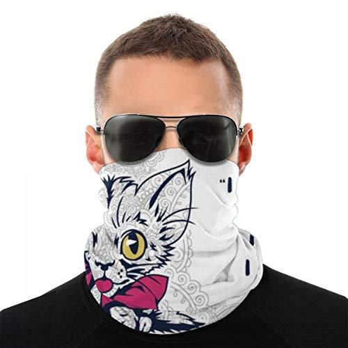 hfdff Cat Doodle für Erwachsene Stressabbau Malvorlagen Halsmanschette Gesichtsschal Maske-Staub im Freien Sturmhauben Stoff Sport Sonnenschutz Schal Schild