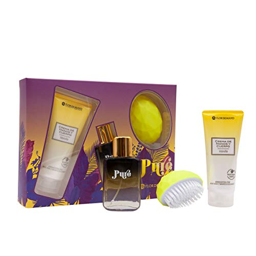 Flor de Mayo, Set Perfume Pure 30ml, Locion 100ml y Cepillo Uñas