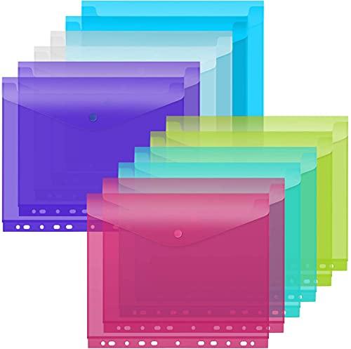 Korins Carpetas de Archivos de Plástico A4 para Carpetas de Anillas Paquete de 12 PCS Transparente Multicolor con Botón para Oficina Escuela Almacenamiento de Materiales de Aprendizaje