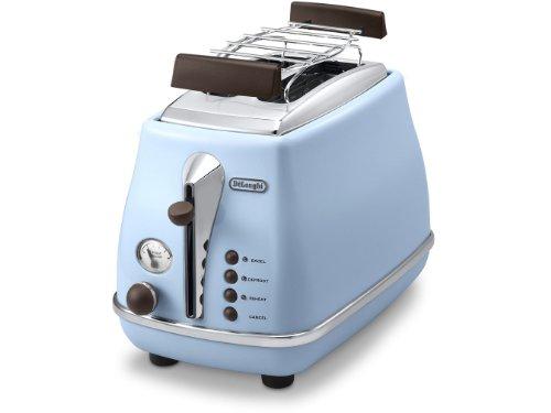 De'Longhi Toaster Icona Vintage CTOV2103.AZ - 2-Schlitz-Toaster mit Brötchenaufsatz, Edelstahl in elegantem Retro Look mit Chrom-Details, blau