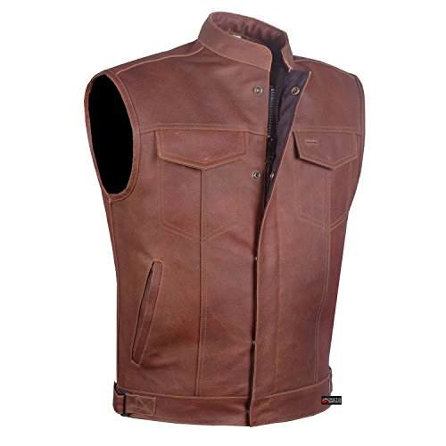 Men Armor Distress Brown Leather SOA Motorcycle Concealed Carry Club Vest L