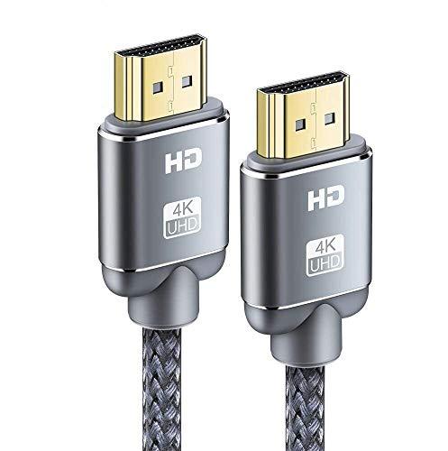 Cable HDMI 4K 4.5m-Snowkids Cable HDMI 2.0 Ultra Alta Velocidad 18Gbps Cable Trenzado de Nylon 4K a 60Hz Compatible con Fire TV, 3D,Función Ethernet, Video 4K UHD 2160p, HD 1080p PS4 - Gris