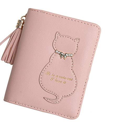 (ヒトクル) HITKUL 猫 財布 二つ折り 女の子 ファスナー プレゼント 子供 チャーム ネコ (薄ピンク)