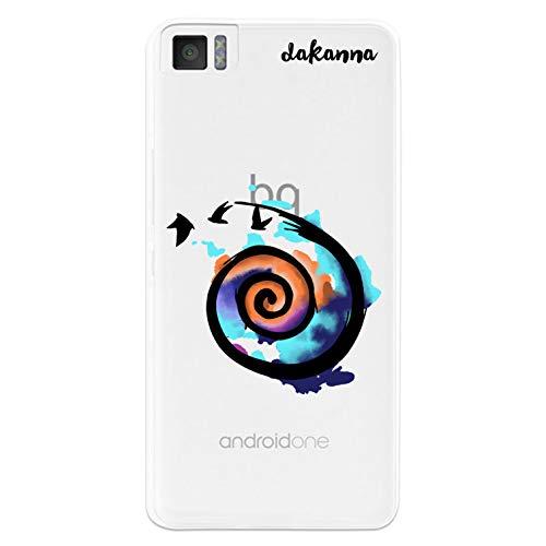 dakanna Kompatibel mit [Bq Aquaris M4.5 - A4.5] Flexible Silikon-Handy-Hülle [Transparenter Hintergr&] Wirbelkreis Tattoo-Stil & Vögel Design, TPU Hülle Cover Schutzhülle für Dein Smartphone