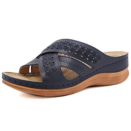 RXLLDOLY Sandalen Damen Orthopädische Pantoffeln Slippers Schuhe Bequeme Schuhe Pantolette Cross Hausschuhe rutschfest Sommer fußbett Sandaletten Low Heels Plattform mit Schnalle(Blau,39 EU)