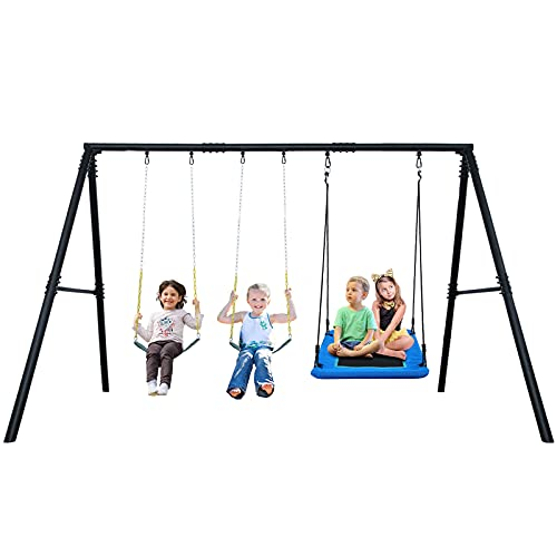 600lbs Heavy Duty Swing Set with 1 Platform Tree Swing, 2 Belt Swings ,A Frame Metal Swing Set for...