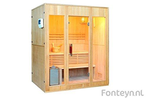 Fonteyn - Sauna (para 3 personas, de madera maciza, incluye horno)