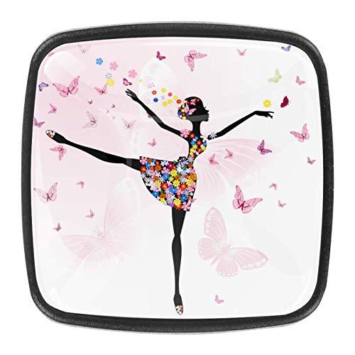 YATELI Ballerina Mädchen Blumen Schmetterling [4 Stuck] Küchenknöpfe - Türknopf Knauf für Schrank, Schubladenknopf, Türknäufe, Möbelknopf