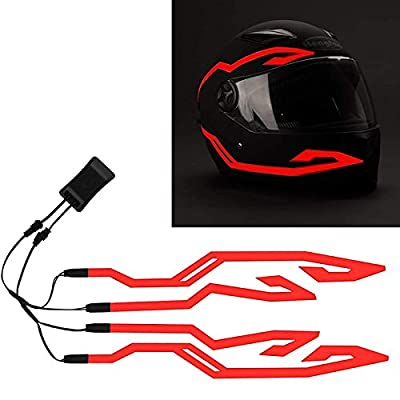 4PCS Upgrade Rechargeable Motorcycle Helmet Light, Night Riding Signal Helmet EL Light, 3 Mode Led Helmet Light Strip Accessories Kit for Motorcycle, Bike Helmet from JIGUOOR