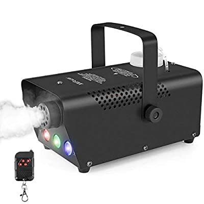 MVPower Mini Fog Machines 500W, Fog Machines with Wireless Remote Control and Colorful Light, Smoke Machine for Holidays, Weddings, Theater Party and Club DJ Effect, 350ML