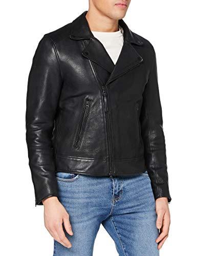 Superdry A3-Leather Chaqueta, Negro, L para Hombre