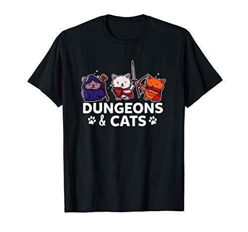 Mazmorras y gatos Gamer Cat Lover Gaming Juego de rol RPG Camiseta