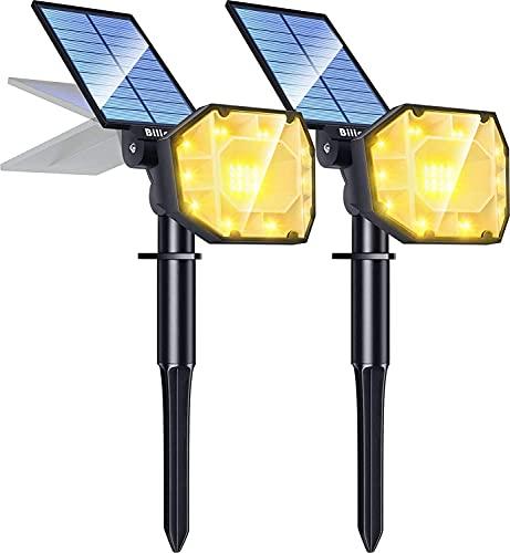 Biling 30 LED Luces Solares Exterior,2-en-1 focos solares para jardín al Aire Libre,Focos para jardín Ajustables,IP67 Luces de Pared con energía Solar a Prueba de agua-2PC(Blanco cálido)