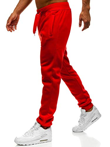 BOLF Herren Jogginghose Sporthose Trainingshose Jogger Sweathose Fitnesshose Jogpants Fußballhose Sweatpants Beinabschluss Pants Baumwolle Slim Fit J.Style XW01 Rot M [6F6]