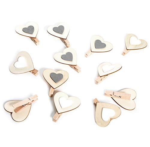 Logbuch-Verlag 12 mollettine decorative legno bianco grigio cuore San Valentino matrimonio decorazione addobbi mollette festa della mamma