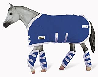 Breyer 3947 Traditional Blanket & Shipping Boots Horse Toy Accessory Set, Blue (1:9 Scale)