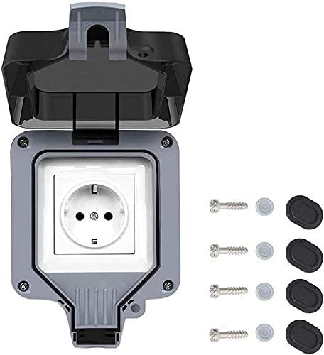 Enchufe exterior – IP66, multifunción, resistente al agua, con puerto de carga USB, enchufe exterior con tapa (unidad)