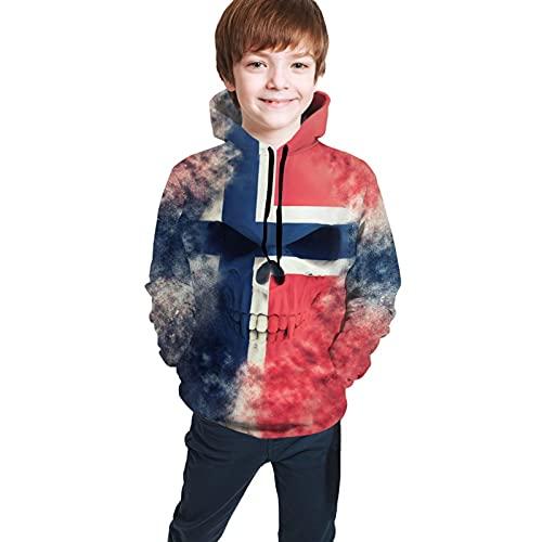 Sudadera con capucha para adolescentes con estampado 3D con capucha y bolsillo Cool Athletic Jacket, Calavera de demonio pintada en colores de bandera noruega, color negro, XL